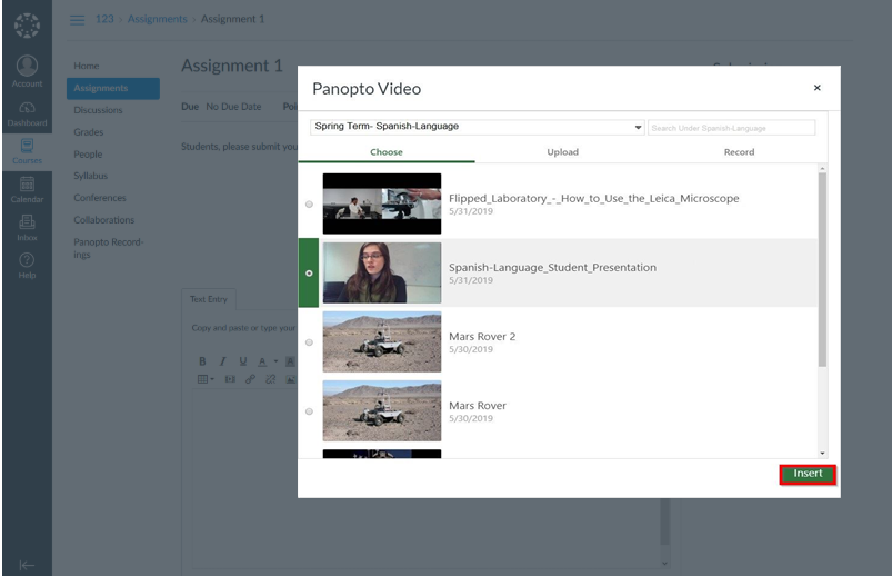 How to Submit a Video Assignment in Canvas
