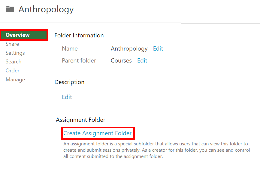 A screenshot of the Overview tab of a Panopto course folder with Create Assignment Folder highlighted.
