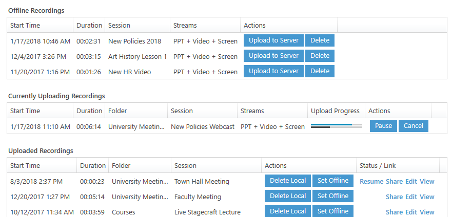 A screencapture of a manage recording screen showing an uploading video, videos waiting to be uploaded that have been recorded offline and several completed recordings.